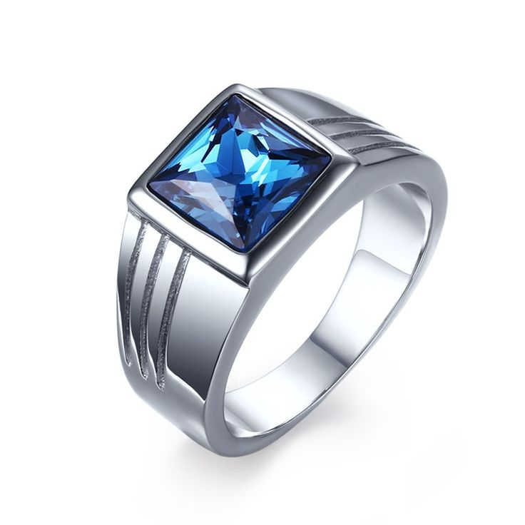 SECSEAL Casting AAA blue rhinestone Wedding rings for men 316L Stainless Steel jewelry wholesale