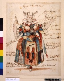 Costume study for a female fool,   Pen and brown ink, with watercolour and bodycolour, heightened with gold, over graphite. Circle School of Stefano dell Bella 1625-1664. British Museum