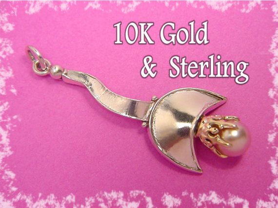 Good Fortune ~ 1880's 10K Gold Crown & Cream Pearl Sterling Silver Pendant ~ OOAK ~ Old Meets New Artisan Redesign