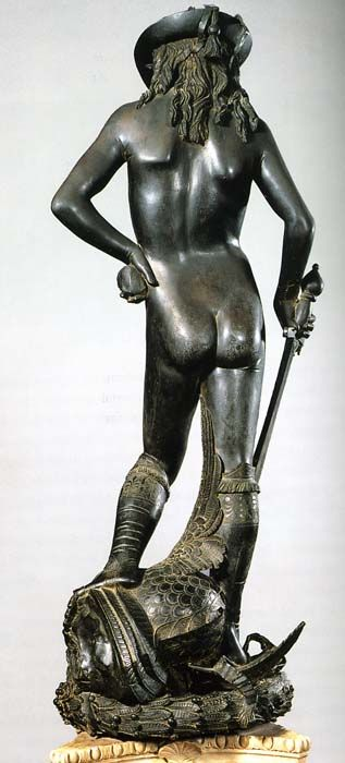 Donatello's David (1430s) from the back. Donato di Niccolò di Betto Bardi , better known as Donatello (ca.1386-1466), was an early Renaissance sculptor from Florence. He is, in part, known for his work in bas-relief, a form of shallow relief sculpture that, in Donatello's case, incorporated significant 15th-century developments in perspective illusionism.