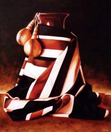 "Saatchi Art Artist Dan Civa; Painting, ""Arrangement with vase and castanets""…"