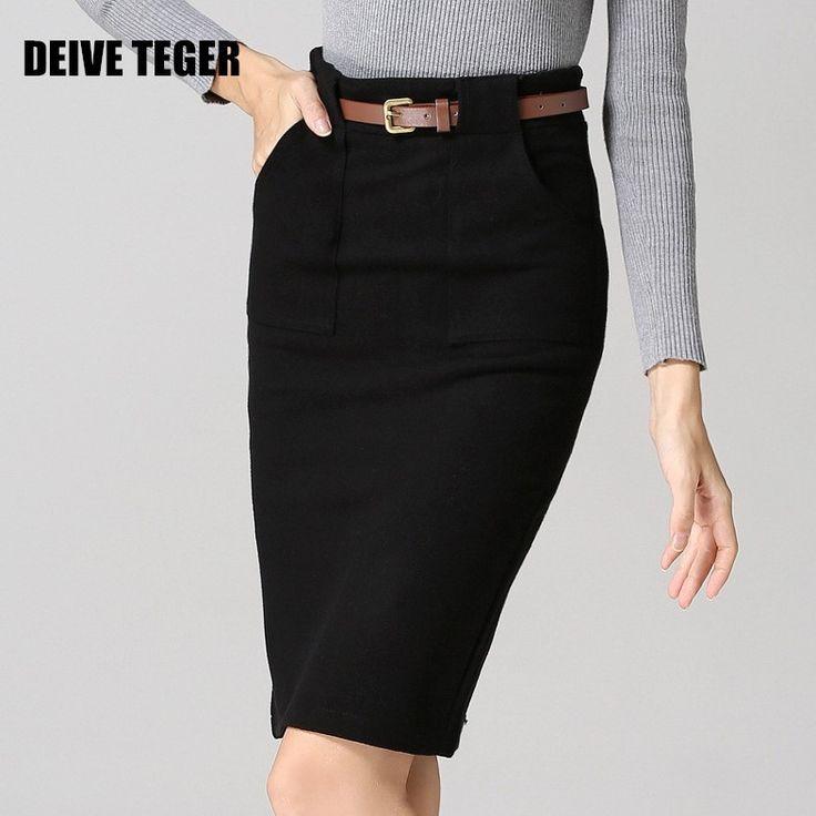 Deive TEGER 2016 новое сплошной высокое качество леди кашемир оболочка пояса высокая талия vestidos женщины колена юбка карандаш BY046 купить на AliExpress