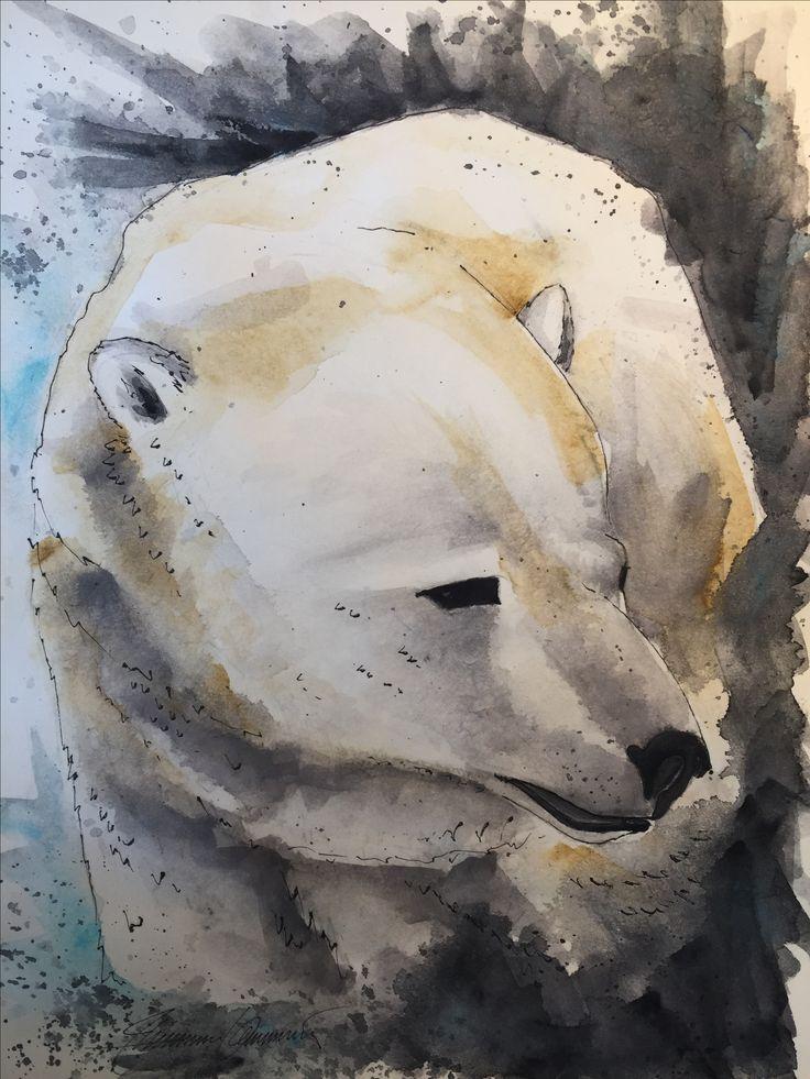 Spectacular Polar Bear Eisb r A Aquarell Sketch Zeichnung