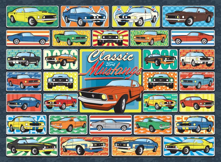 1000 Piece Jigsaw Puzzle from Hennessy Puzzles. What more midcentury than a classic Mustang?