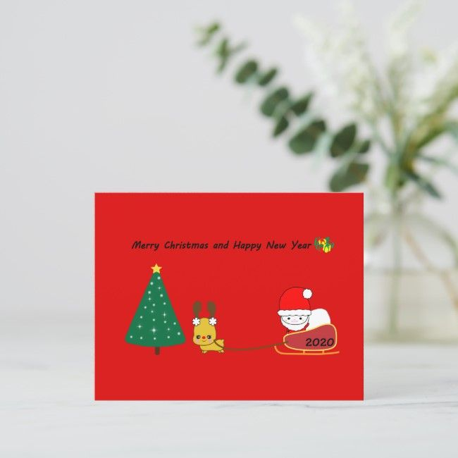 2020 The Christmas Card Of The Cute Character Zazzle Com Christmas Cards Merry Christmas And Happy New Year Cards