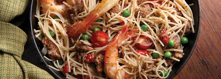 No Yolks® - Spanish Style Noodles with Shrimp and Sausage