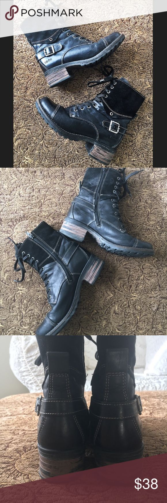 """Taos Boots Cute pre loved boots ..leather and suede ..lace up detail.. inside zip entry.. lug sole.. heel:1 3/4"""" height:8"""" euro size 37 .. us 6/6.5.. Taos Footwear Shoes Ankle Boots & Booties"""