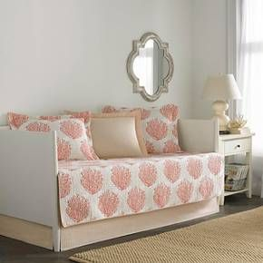 Bold medallions of stylized branch coral are interspersed with a shadow toile of the same motif to create a pleasing all over pattern reminiscent of an underwater garden in this Coral Coast 5 pc daybed set. Made of soft, pre-washed cotton and the color palette of Coral, Sand and Pale Apricot on a crisp white ground the Laura Ashley Coral Coast 5 pc daybed set brings memories of sun kissed days at the seashore.