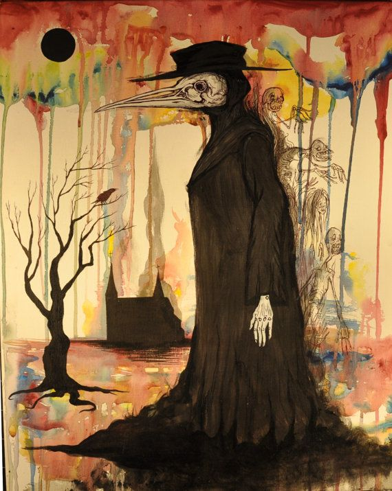 Plague Doctor Artwork. Babies growing out of the back of the creature. The face has melted with the human that was once beneath.