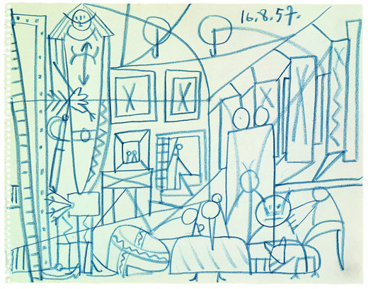 Las Meninas, Pablo Picasso. Blue pencil, Paper removed from a sketchbook. 1957