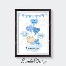 A3 Prints - Födelsetavla Bebis på moln Blå Olika hårfärger