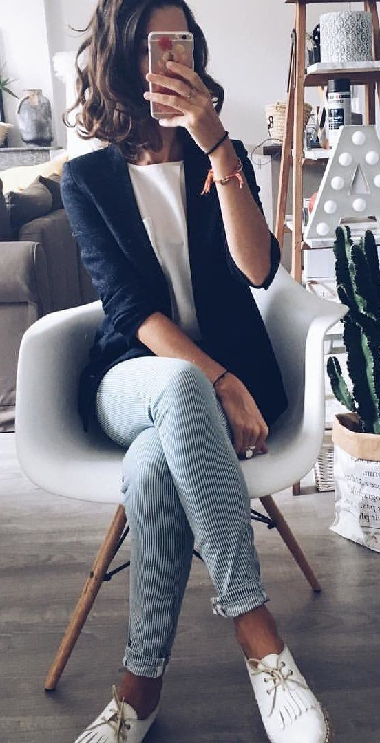 #summer #outfits  Navy Blazer   White Top   Striped Pants