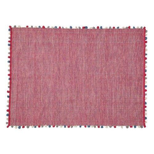 pink rug, pompoms, pink pompom rug