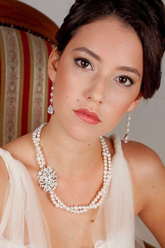 Wedding Jewellery Set  Neckalce and Earrings  by MyPearlDreams, $95.00