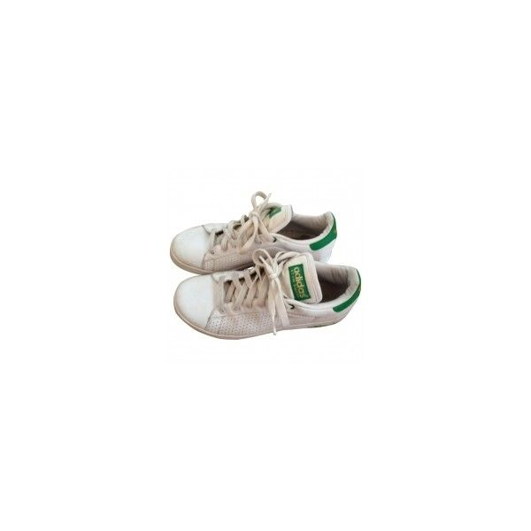 Stan Smith ADIDAS ❤ liked on Polyvore featuring shoes, sneakers, chaussures, flats, white leather shoes, adidas flats, white shoes, leather flats and flat pumps