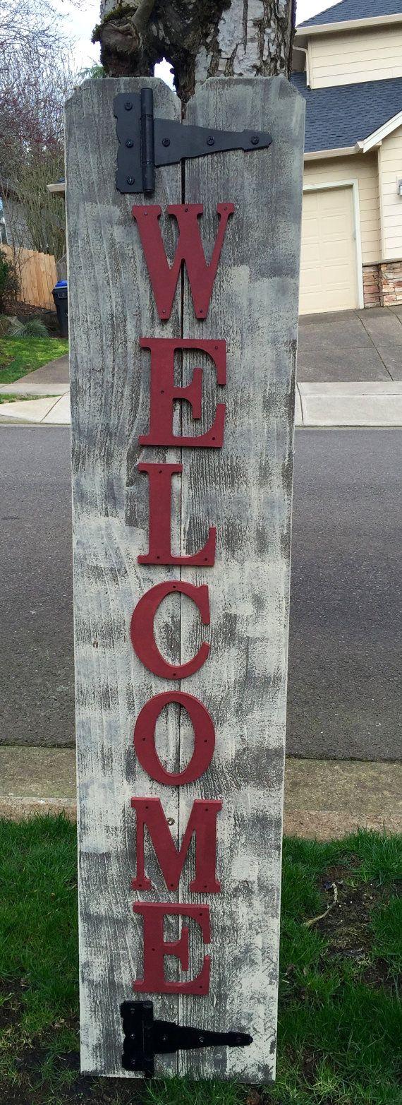 Veranda schuur rood hout teken veranda welkom teken, rustieke houten welkom teken, welkom borden, buiten Welkom borden, rustieke tekenen