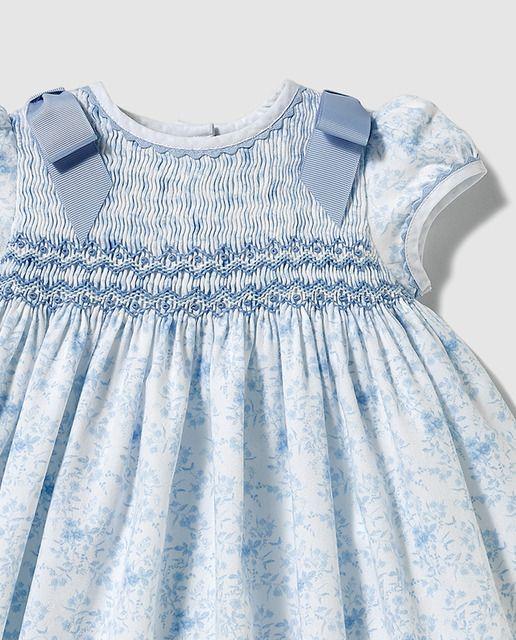 Vestido tipo body de bebé niña Dulces estampado en tono azul