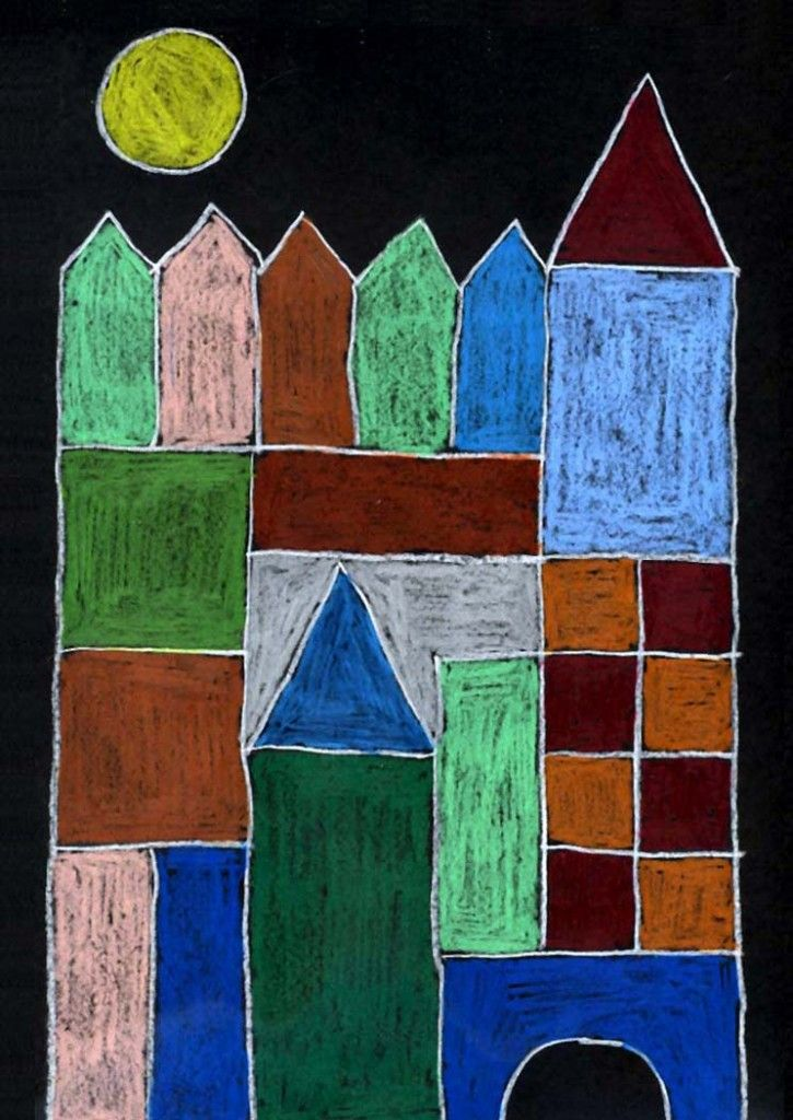 """Paul Klee was one of the great colorists in the history of painting. I developed this project that imitates his abstract""""Castle and Sun""""painting by having students trace cardboard shapes and fill them in with colored pencils. 1. Give each student a piece of black paper, a pencil and half a dozen or so cutout square, rectangle … Read More"""