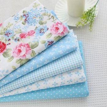 40cm*50cm 5pcs Blue Cotton Fabric Fat Quarter Quilting Patchwork Tissue Kids Baby Bedding Textile For Sewing Tilda Doll