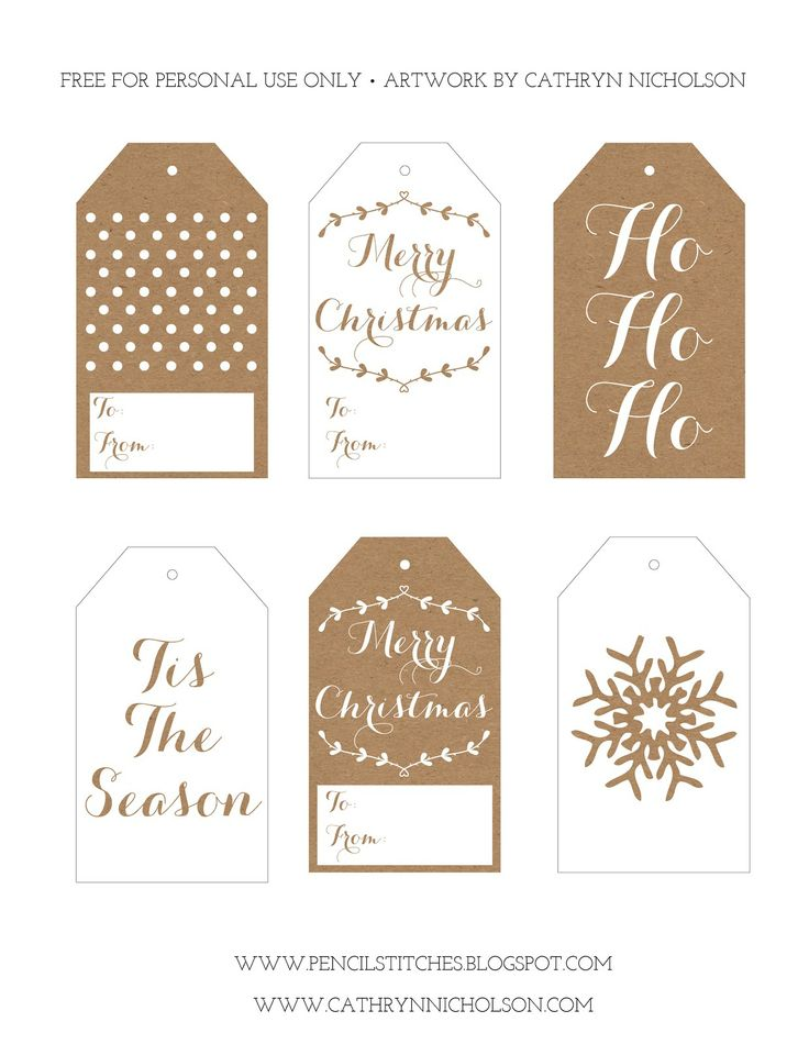 FREE Printable Christmas Gift Tags - Cathryn @ Pencil Stitches