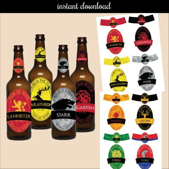 This Listing Is For The Creation And Delivery Of A Digital File For You To Print Yourself As M Cumpleaños Juego De Tronos Botellas De Cerveza Juego De Tronos