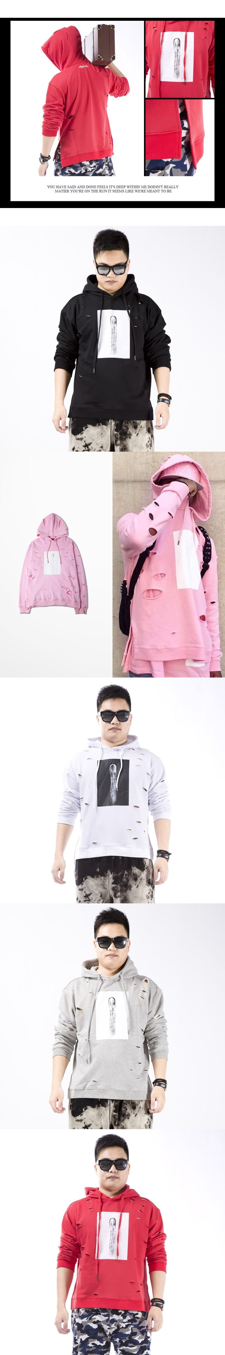 New Autumn Men Aad Women Ripped Hoodie Pink Black White Hole Loose Streetwear Ripped Hip Hop Punk Rap Couple Clothes Pullover