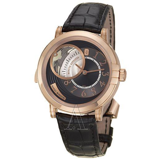 """Harry Winston, Haute Horology Midnight Minute Repeater, Men's Watch, 18K Rose Gold Case, Leather Crocodile Strap, Strap, Made in Switzerland, Manual, 450-MMMR42RL-K"""