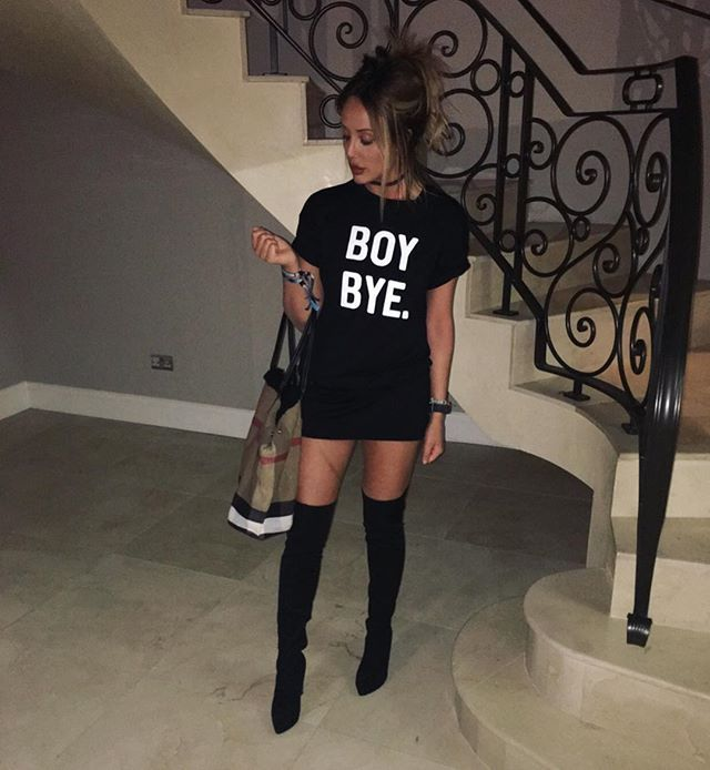 WEBSTA @ charlottegshore - Tonight attire Tshirt dress - @inthestyleuk (My collection)Boots - @inthestyleukBag - @burberry