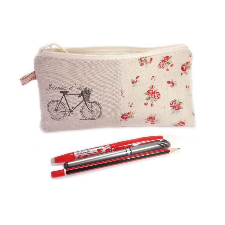 Large Pencil Case, Zip Pouch, Girl's Pencil Case, Bicycle Pencil Case, Personalised pencil Case by modernandvintage on Etsy https://www.etsy.com/listing/150241688/large-pencil-case-zip-pouch-girls-pencil