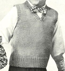 Free Knitting Patterns For Children s Pullovers : Boys Sleeveless Pullover knit pattern from Speedknits for Children, orig...