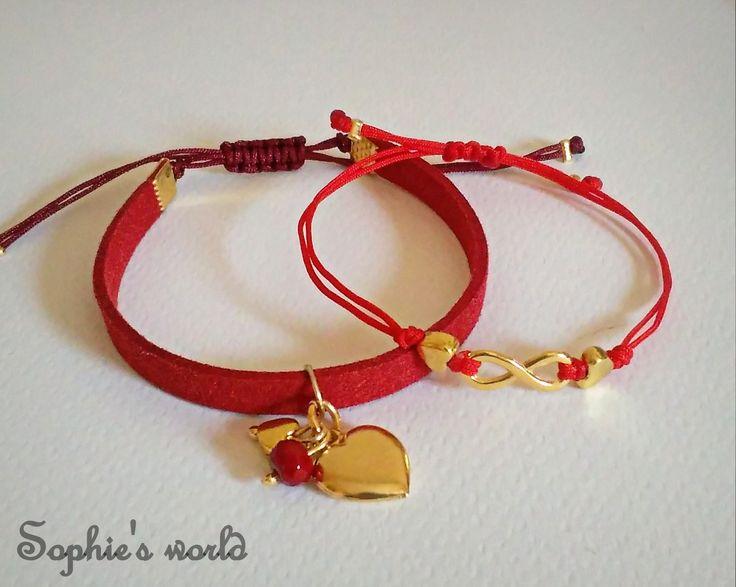 βαλεντινάκια βραχιόλια κοκκινο σουετ με επιχρυση καρδια κ απειρο επιχρυσο #bracelets #handmade #valentinesday  https://www.facebook.com/SophiesworldHandmade/