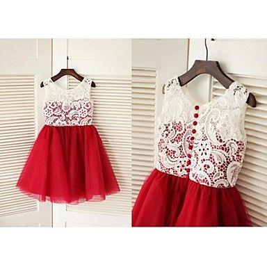 Vestido de niña de las flores Corte A - Escote Joya - Hasta la Rodilla ( Encaje/Tul ) – EUR € 49.99