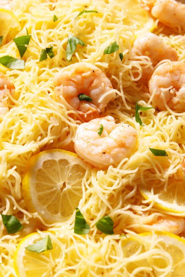 Garlicky Lemon Shrimp with Angel Hair