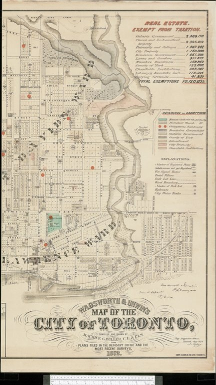 1872 Wadsworth & Unwin Map of the City of Toronto - Tax Exemptions 'The coloured additions to this map show the land exempt from taxation in Toronto in 1878. The table in the upper right corner [of the 3rd panel] indicates the total assessed value of exempt property - one-seventh of the value of all city property. Below this is the legend which indicates categories of exempt land. Note the high proportion of church property...