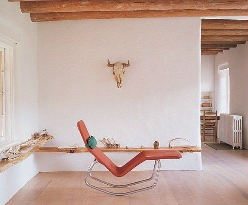The Le Corbusier–style lounge chair in the studio is original to the house. Small items were given to the Georgia O'Keeffe Museum in Santa Fe by her friend and associate, Juan Hamilton. The house is now used for research activities.