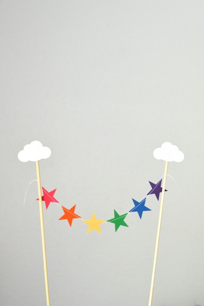 Rainbow Clouds and Stars Cake Topper, mini bunting dessert topper