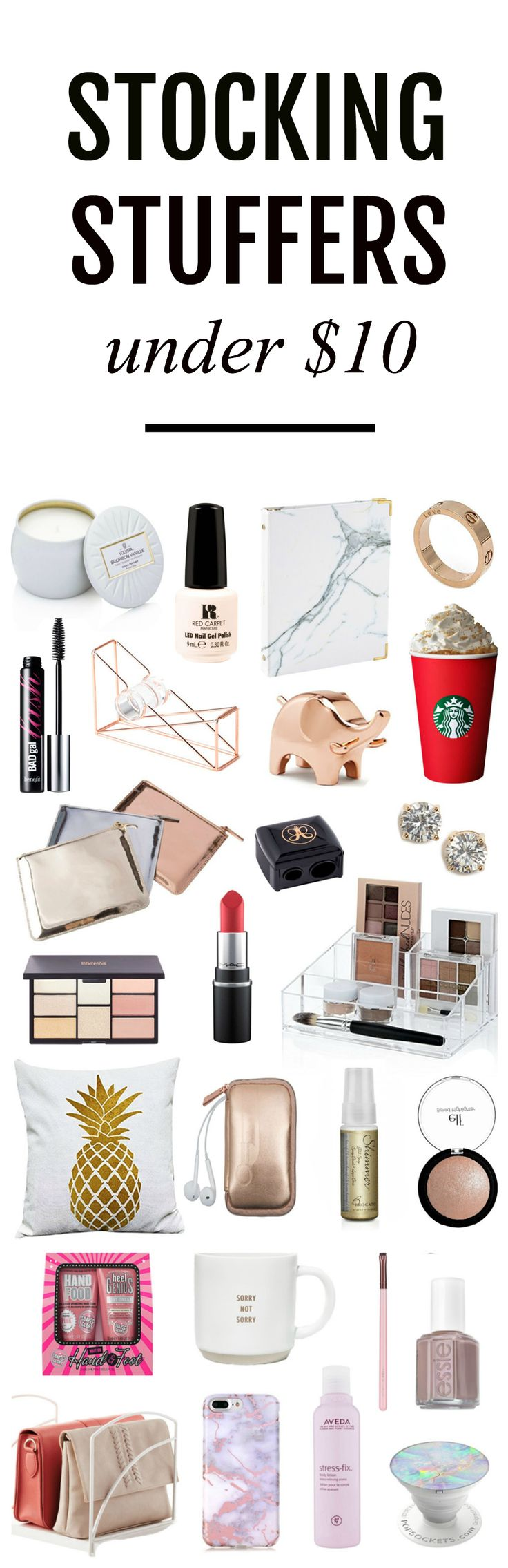 I want everything! | Fashion and beauty Mash Elle shares stocking stuffer gift ideas under $10. For those on a budget, these affordable, unique, trendy, fun gift ideas are perfect for the women in your life including: your mom, sister, neighbor, best frie http://www.giftideascorner.com/stocking-stuffer-gifts-ideas/