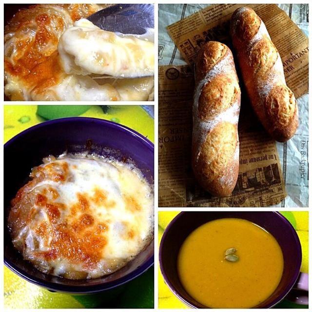 寒い今日は、バケットを焼いてオニオングラタンスープとかぼちゃ、人参、玉葱、ココナッツミルクのポタージュ両方でポカポカ*\(^o^)/* - 241件のもぐもぐ - 天然酵母でバケット、オニオングラタンスープ、かぼちゃとココナッツミルクのポタージュ by yukikoyamaZt7