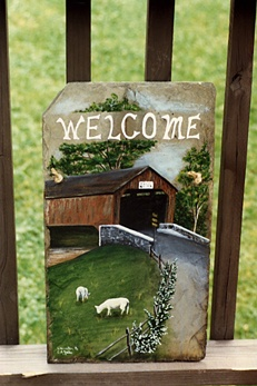 Welcome Sign, painted slate. Country, Rustic Chic, Covered bridge and grazing sheep. http://greaseandgrace.com/