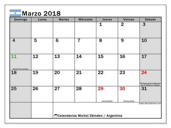 Calendario para imprimir gratis marzo 2018, con los días feriados en Argentina. Calendario mensual