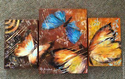 """Абстракция ручной работы. Ярмарка Мастеров - ручная работа. Купить Картина маслом.Триптих """" Порхание бабочки"""". Handmade. Оранжевый"""