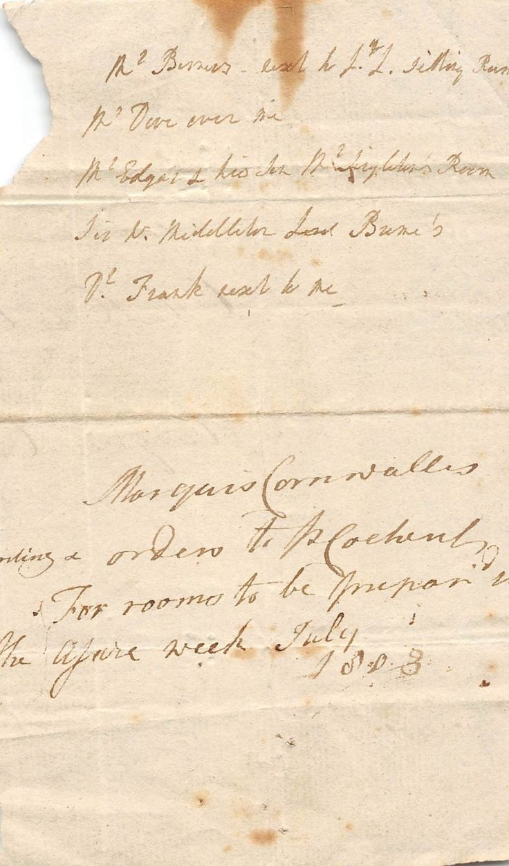 MARQUESS CHARLES CORNWALLIS BRITISH ARMY OFFICER RELATED ANTIQUE DOCUMENT 1803