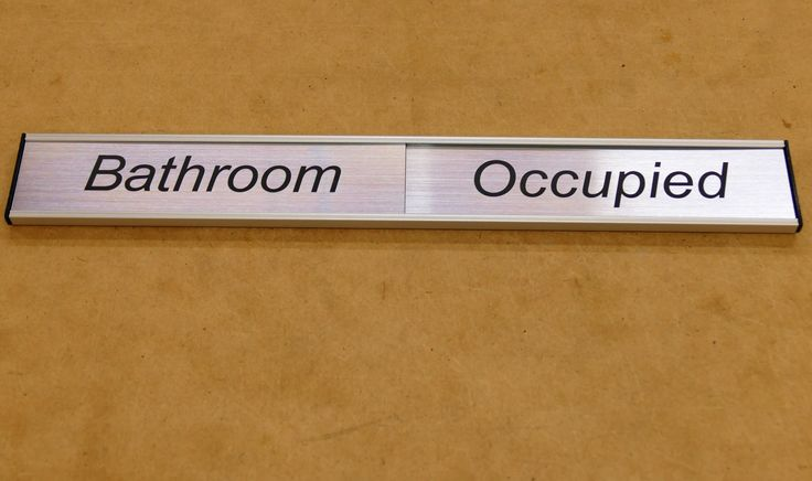 Bathroom status sign engraved sliding plate to show status of room