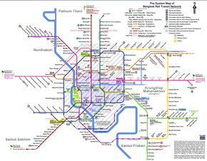 Bangkok Rail Transit Network Map - Bangkok Thailand • mappery