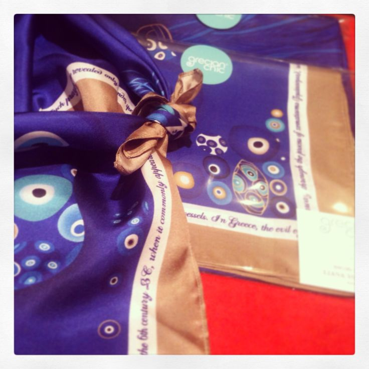 """Evil Eyes"" silk scarf specially designed for Liana Vourakis, by Grecian chic!"