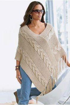 Oi amigas!   Vejam que lindo esse poncho:                  são dois retângulos com 40 pontos tricotados por 60 cm     receita:   http://ww...