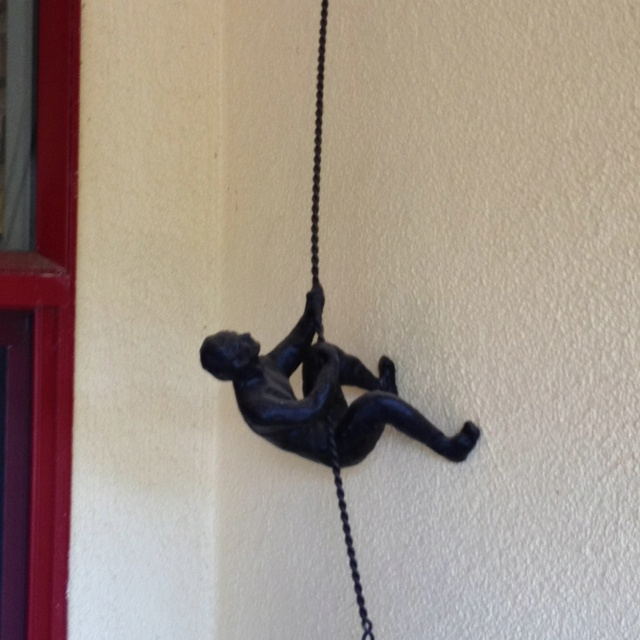 Pull yourself up sculpture at our entryway .