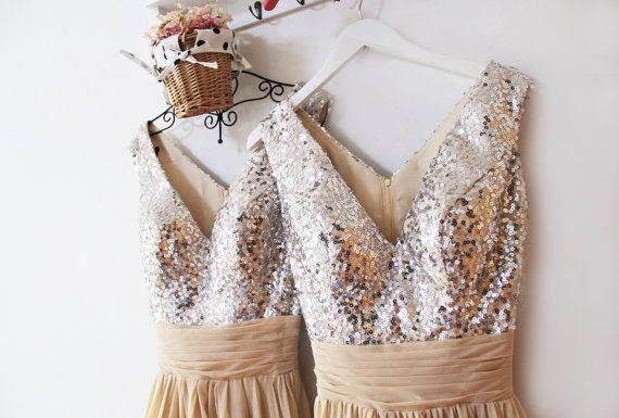 Sequin Prom DressesChampagne Mint Sequin by FashionStreets on Etsy
