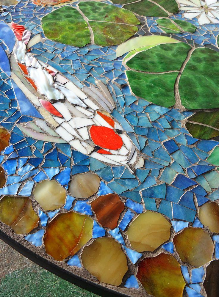 MOSAIC TABLE koi fish ART stained glass mosaic art