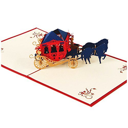 SODIAL(R) Wedding invitations love carriage 3D laser cut paper cutting Greeting Pop Up Kirigami Card Custom postcards Wishes Gifts  Category: 3D Pop Up Cards  Color: Red  Weight: 33g  Technique: Laser Cut  Seals: No